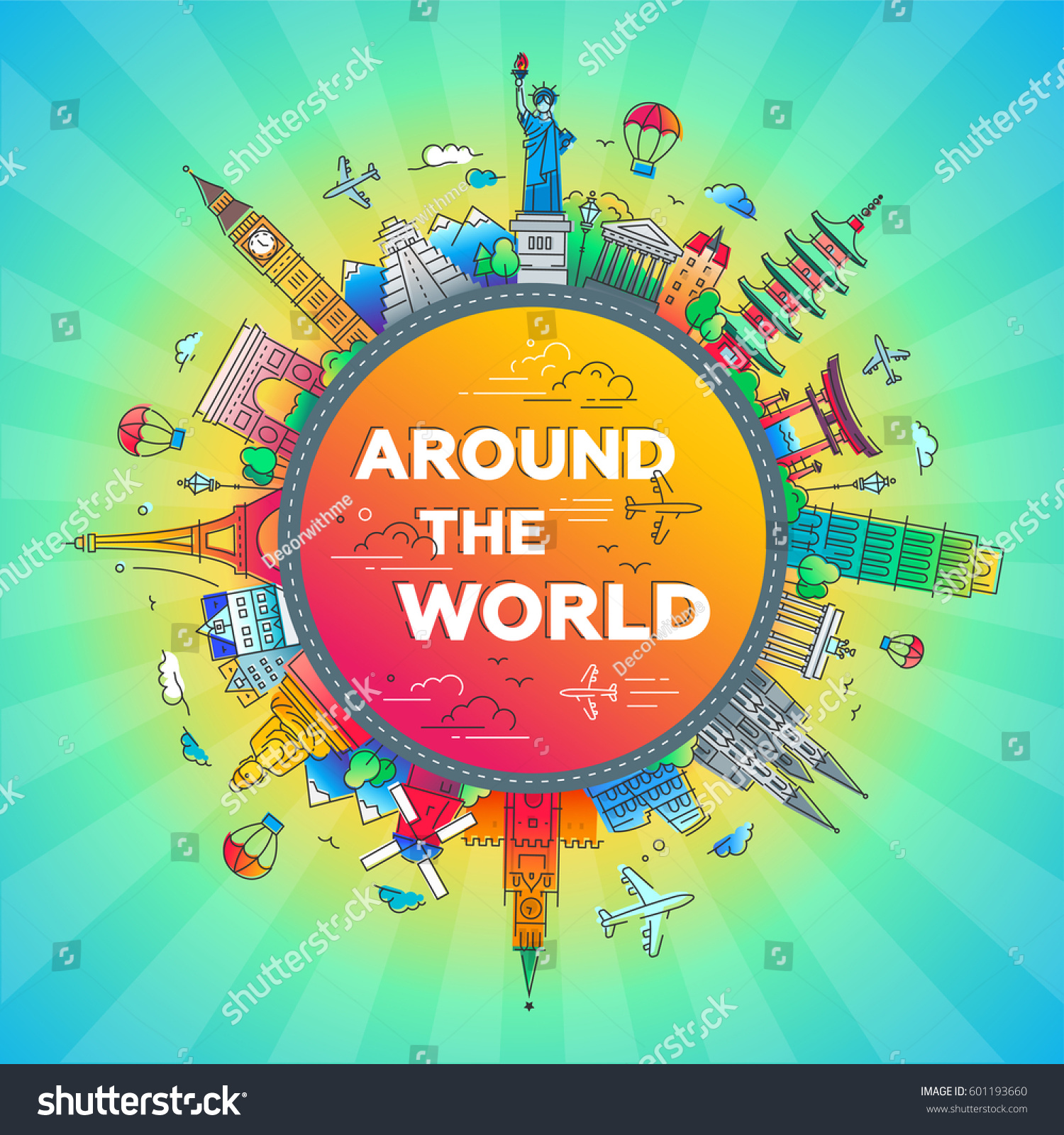 Around world vector illustration flat design stock vector for All around the world cruise