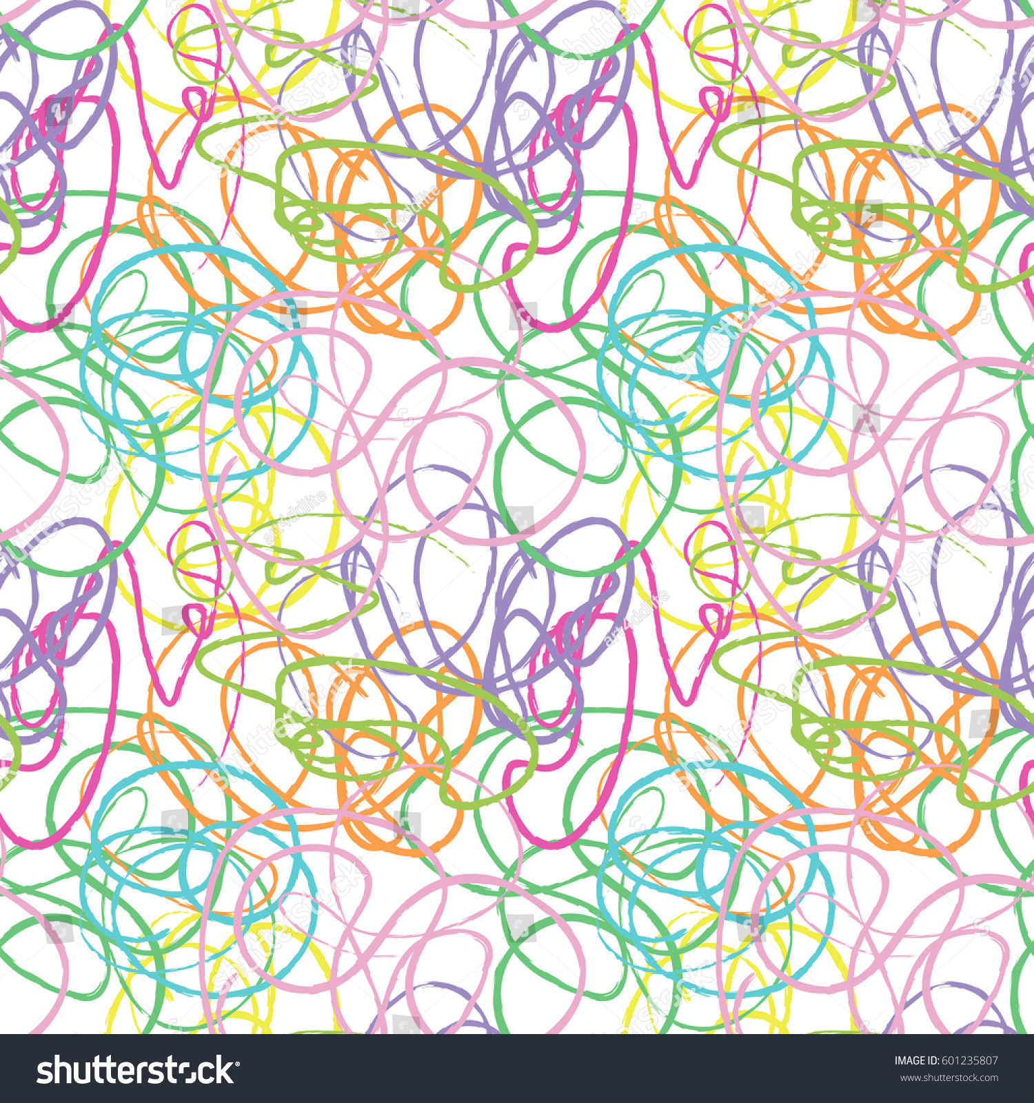 modern vector seamless pattern with hand drawn colorful chalk lines
