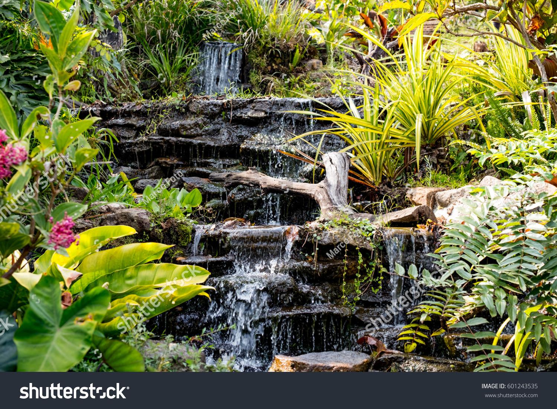 Spring Garden Waterfall Among The Green Tropical Plants Beautiful Flower