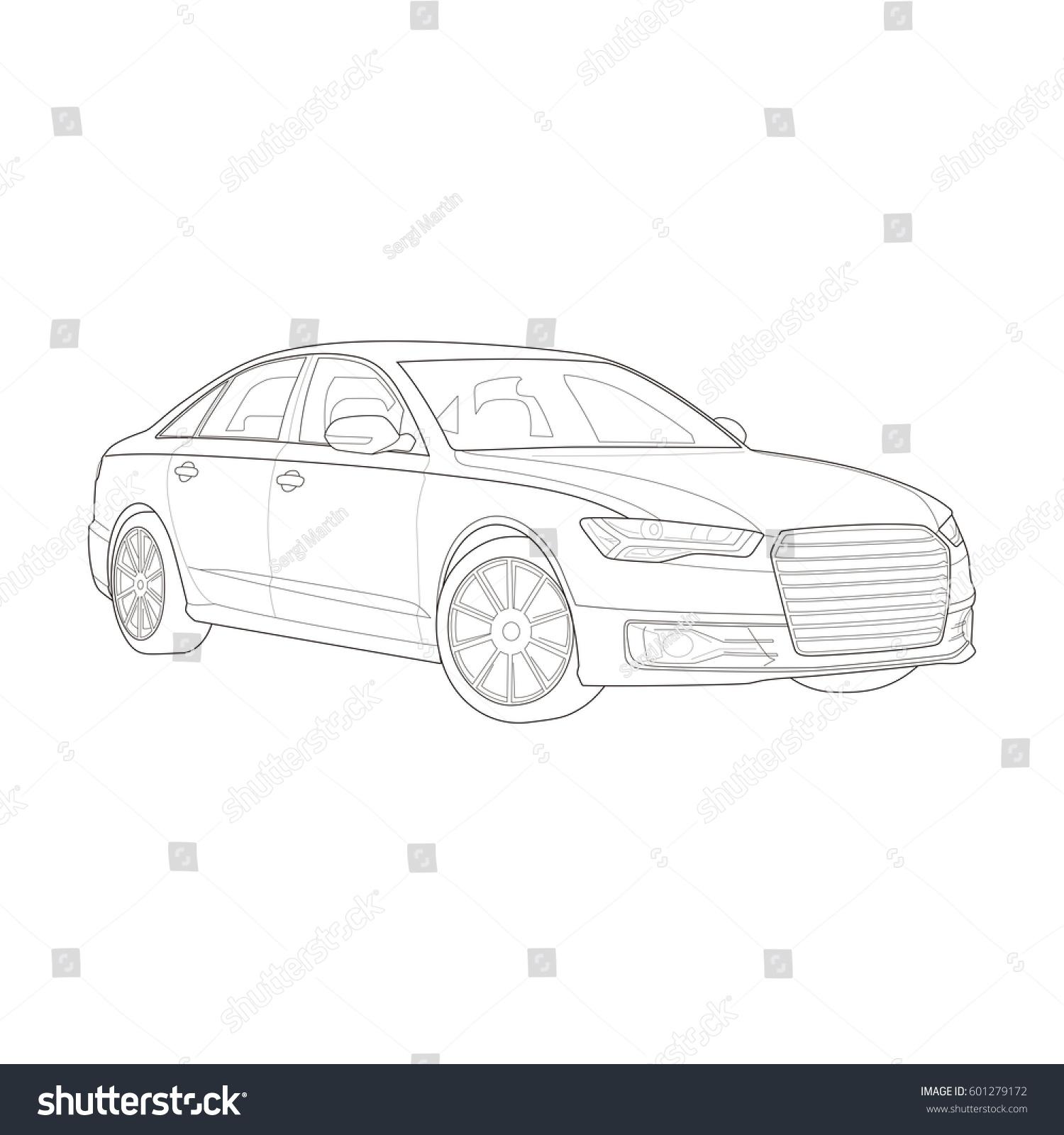Technical Drawing Highend Car Vector Illustration Stock Vector ...