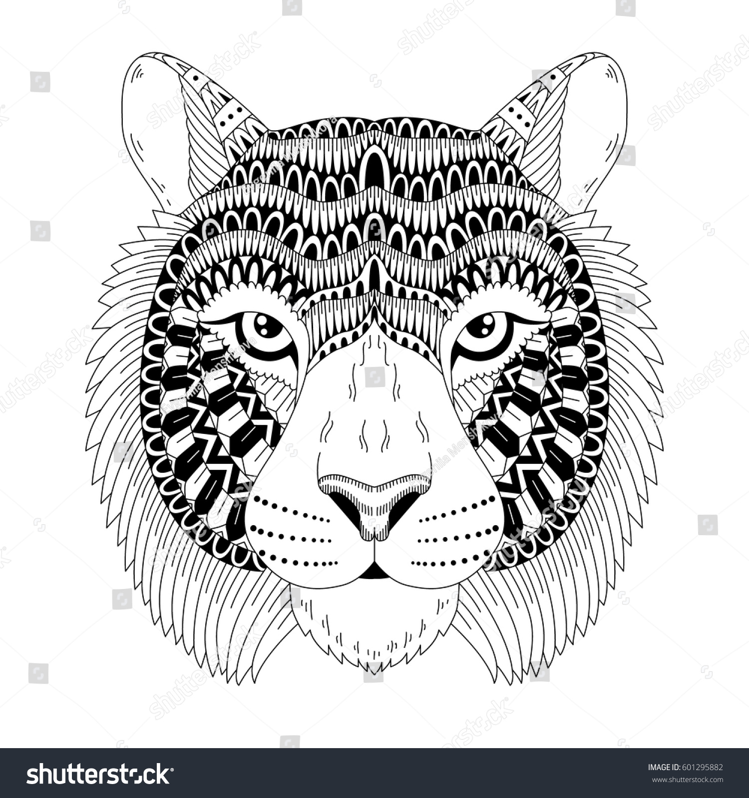 Patterned Head Of The Tiger Vector Illustration In Zentangle Style Isolated Card Tattoo Coloring Page T Shirt Poster Print Design Stock Photo