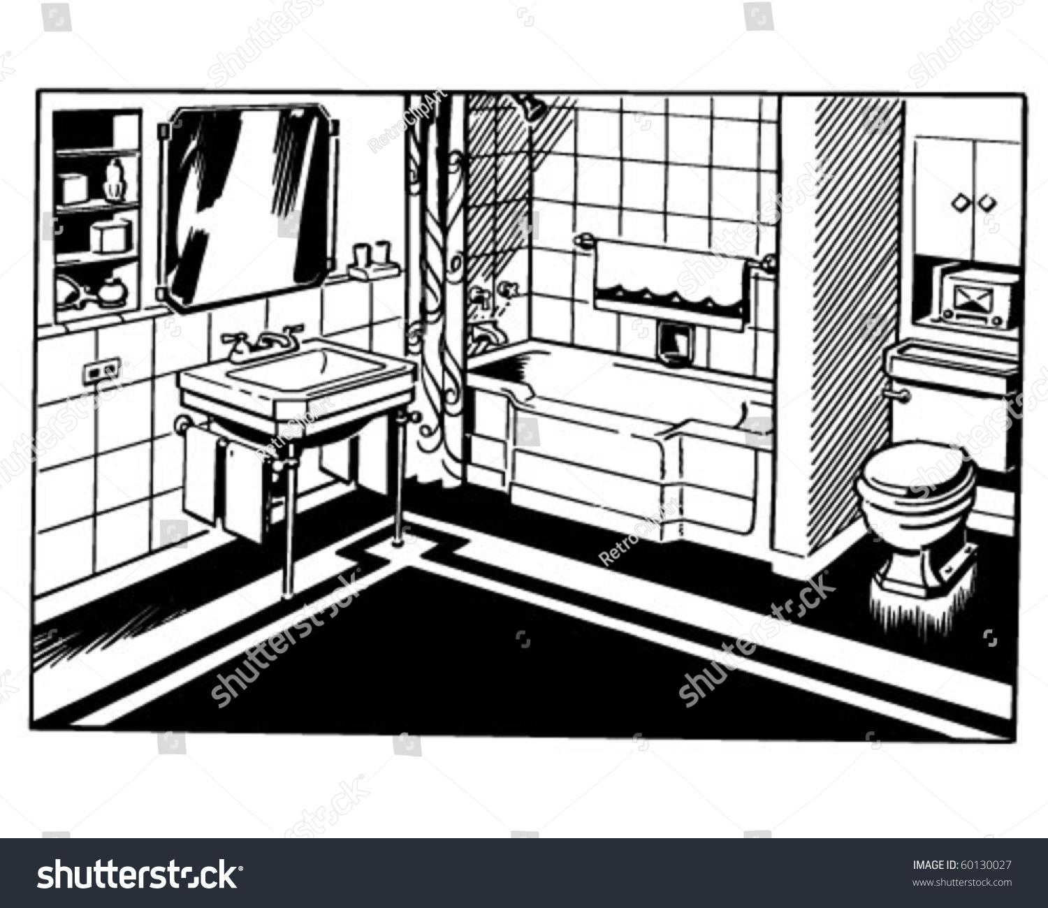 Bathroom Clip Art Black And White: Bathroom 1 Retro Clip Art Stock Vector 60130027