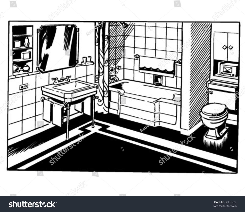 Bathroom 1 Retro Clip Art Stock Vector Royalty Free 60130027