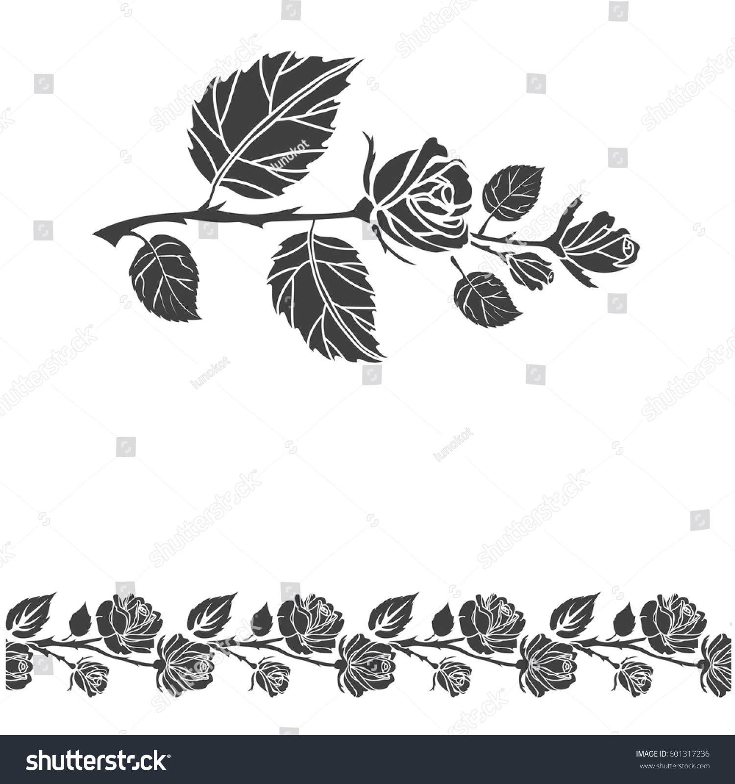 Rose Tattoo Brush Stroke Silhouette Roses Stock Vector ...