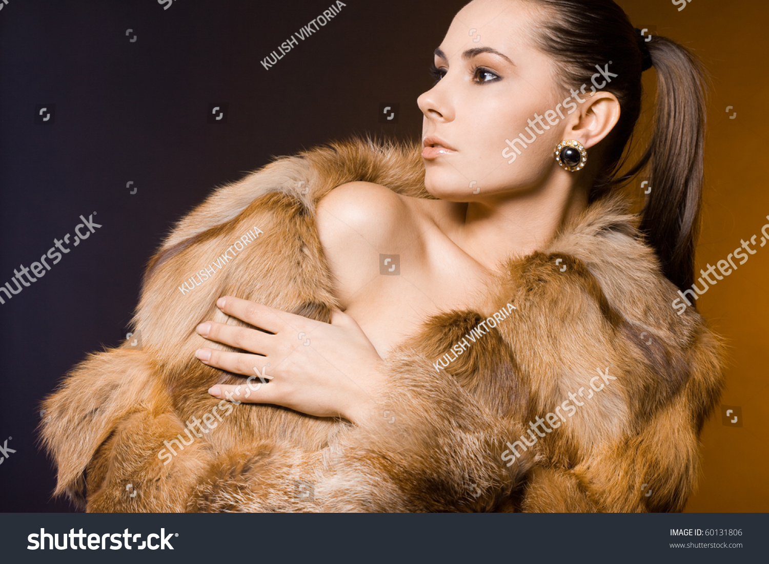 Beautiful Woman Fur Coat Stock Photo 60131806 - Shutterstock