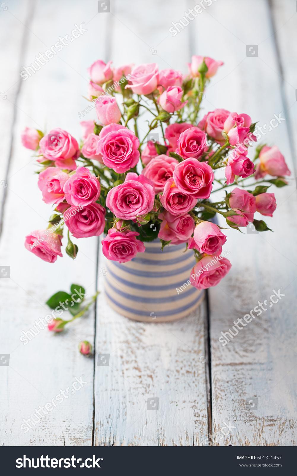 Rose Flowers Vase Beautiful Romantic Bouquet Stock Photo Royalty