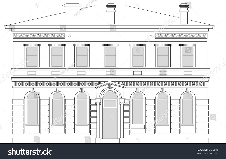 Front Elevation Stock Images : Line drawing illustration of a heritage mansion building
