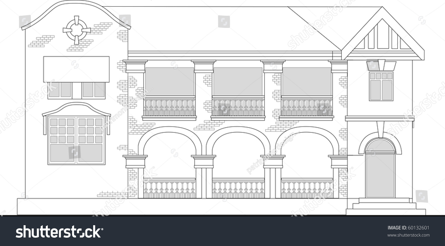 Commercial Building Elevation Drawing : Line drawing illustration commercial office building stock