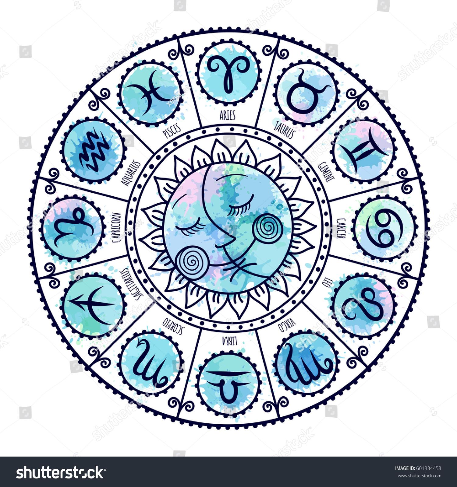 Set symbol zodiac sign zodiac icons stock vector 601334453 set of symbol zodiac sign zodiac icons freehand drawing buycottarizona