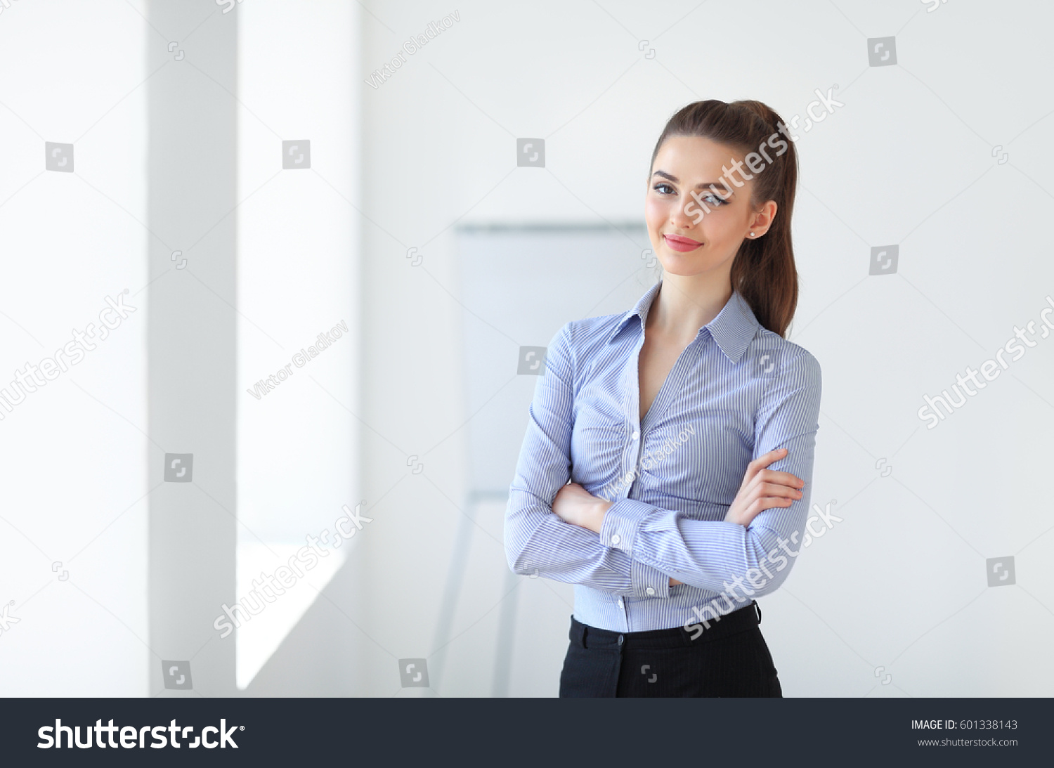 Portrait young beautiful business woman office stock photo 601338143 shutterstock - Office portrait photography ...