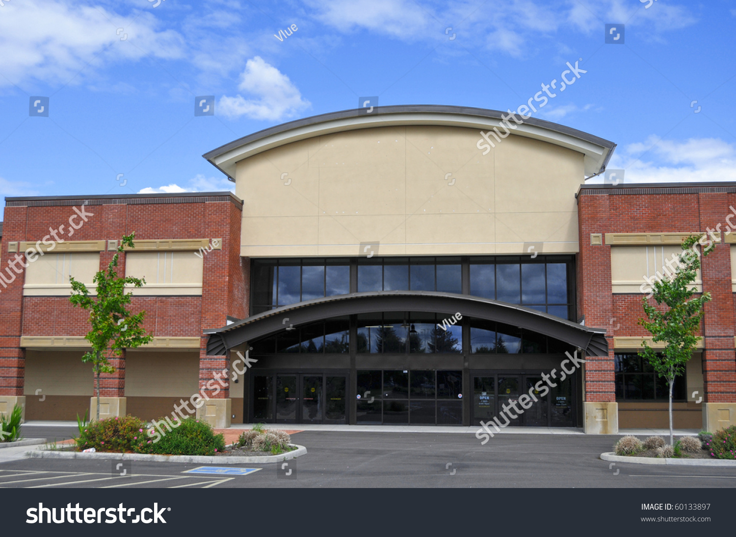 Exterior view generic shopping center store stock photo for Exterior view of building