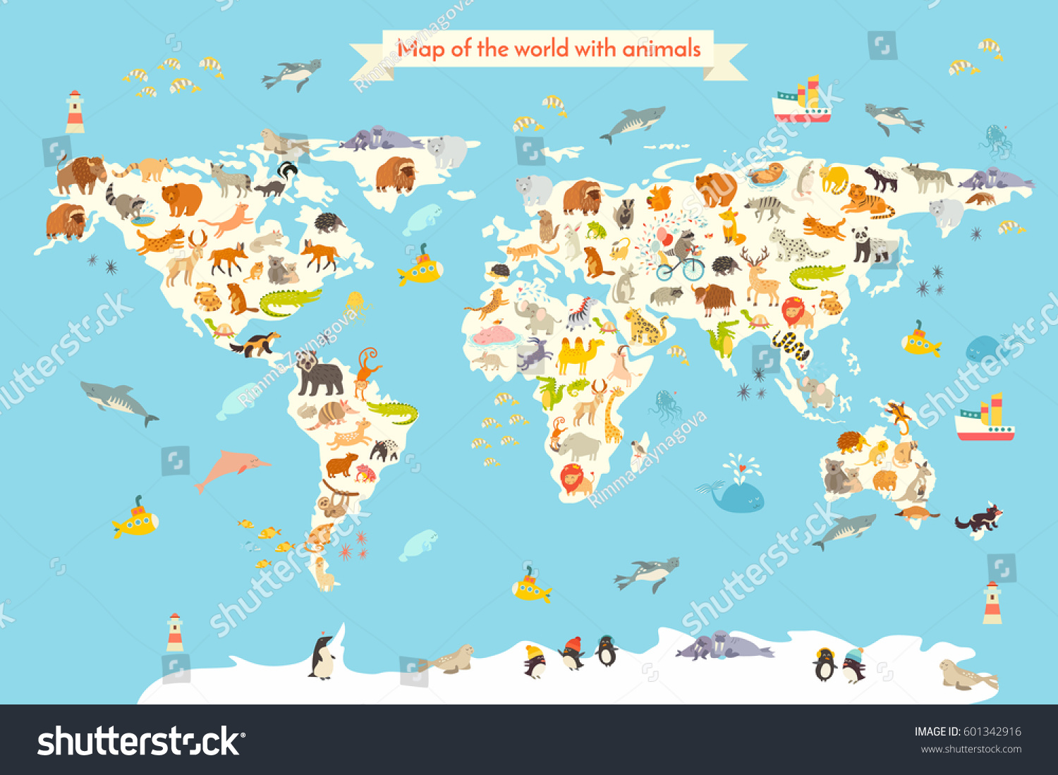 Map animal kid continent world animated stock vector 601342916 map animal for kid continent of world animated childs map vector illustration animals gumiabroncs Choice Image