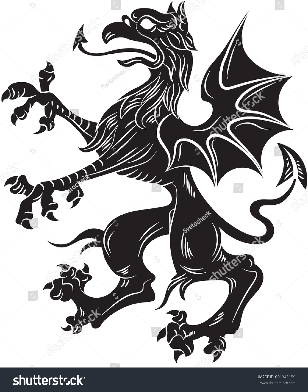 How to breed heraldic dragon - Griffin Heraldry Symbol Vector Illustration Silhouette Or Outline