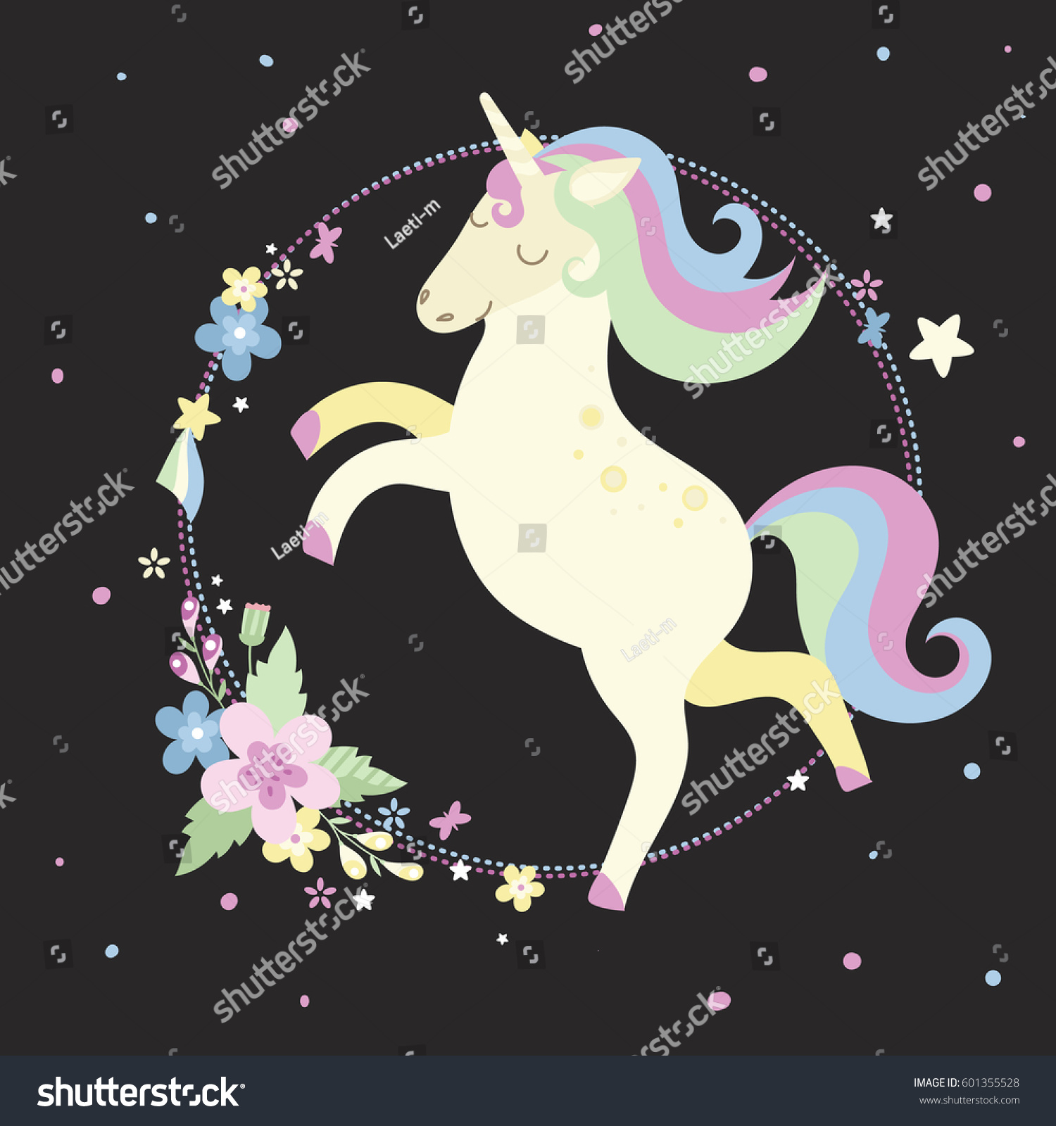 Vector round frame with pink flowers on white background in pastel - Cute Unicorn With Flowers Stars And Round Frame In Pastel Colors On A Black Background