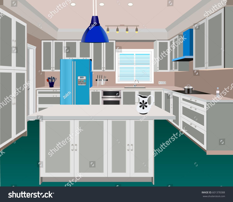 Kitchen kitchen interior with furniture kitchen illustration