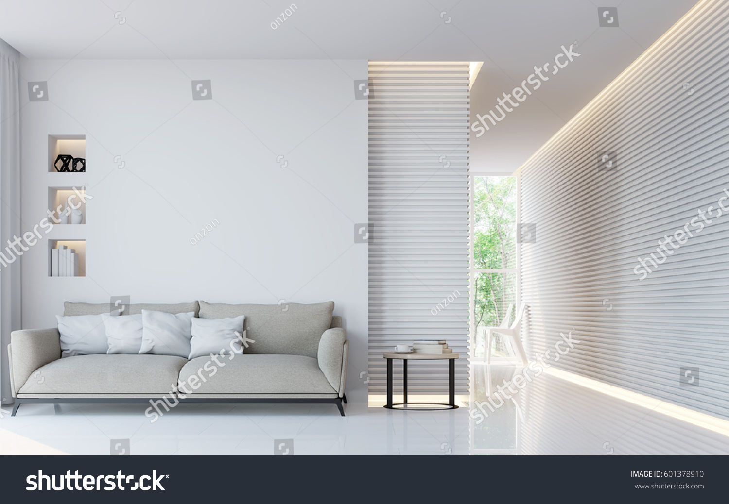 Modern White Living Room Interior 3d Rendering Image.A Blank Wall With Pure  White. Part 95