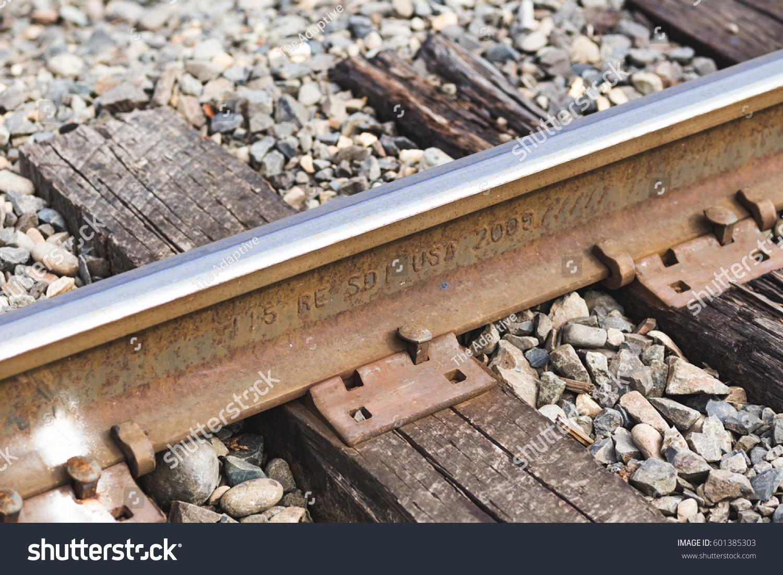 Active Railroad Track Details Closeup Rail Stock Photo (Edit Now