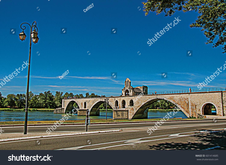 panoramic view pont davignon bridge rhone stock photo 601414685 shutterstock. Black Bedroom Furniture Sets. Home Design Ideas