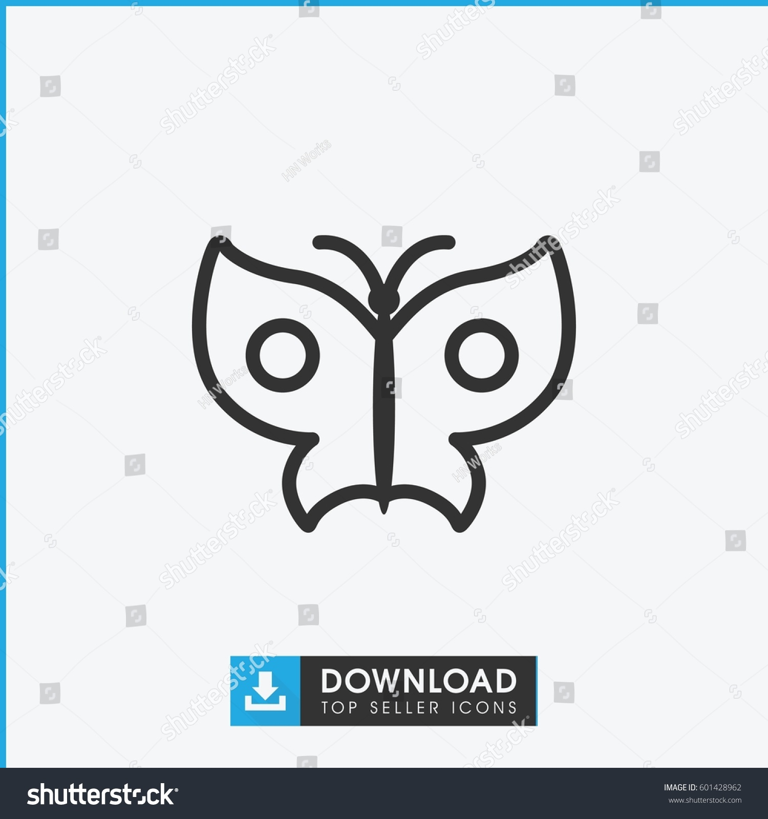 butterfly icon simple outline butterfly vector stock vector