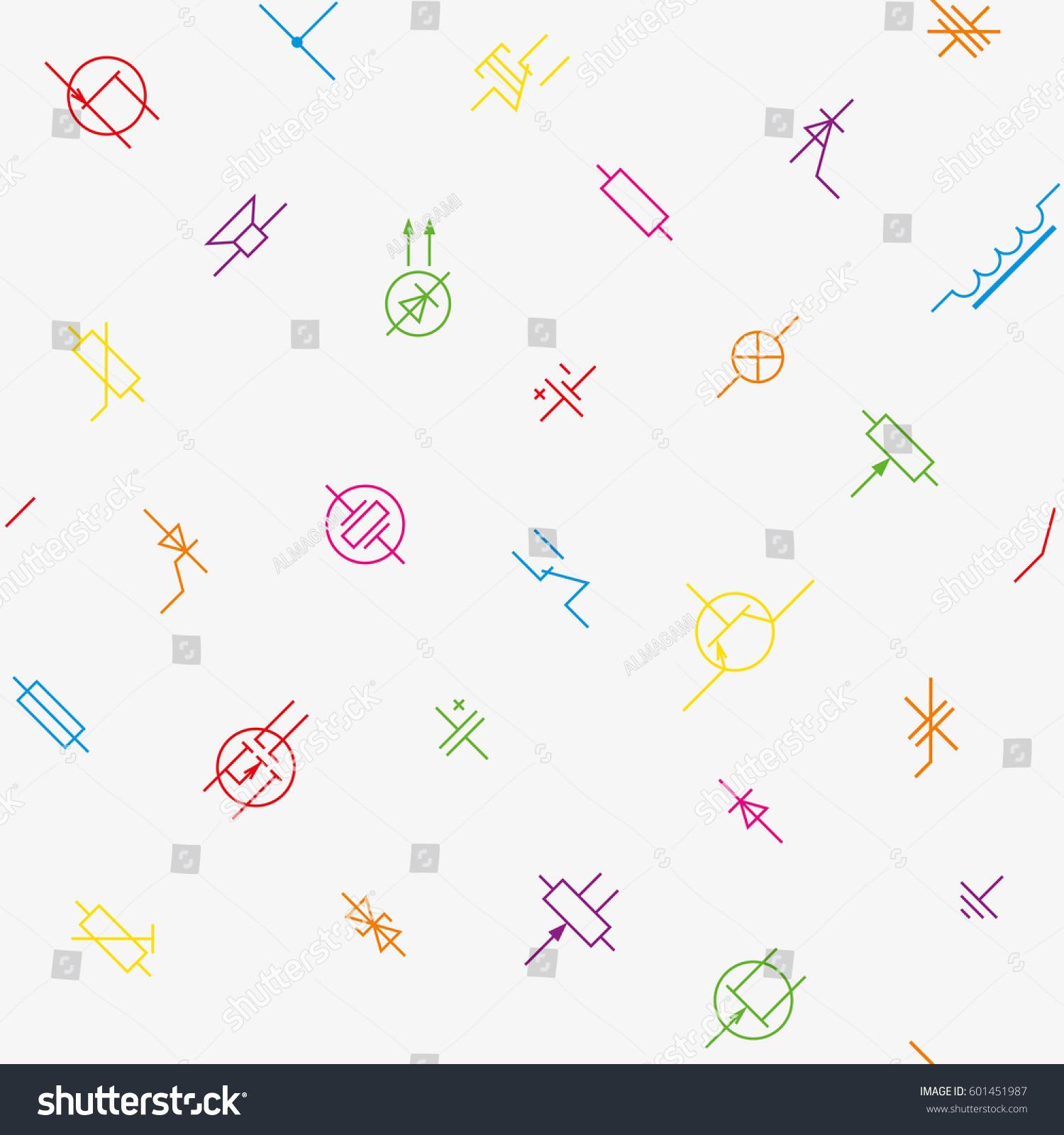 Electronics Circuit Components Symbols Seamless Wallpaper Stock ...