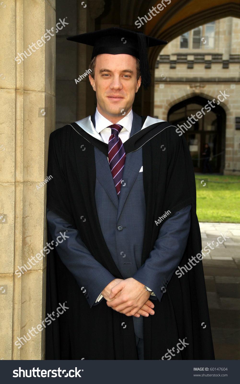 Portrait Young European Guy Graduation Gown Stock Photo (Edit Now ...