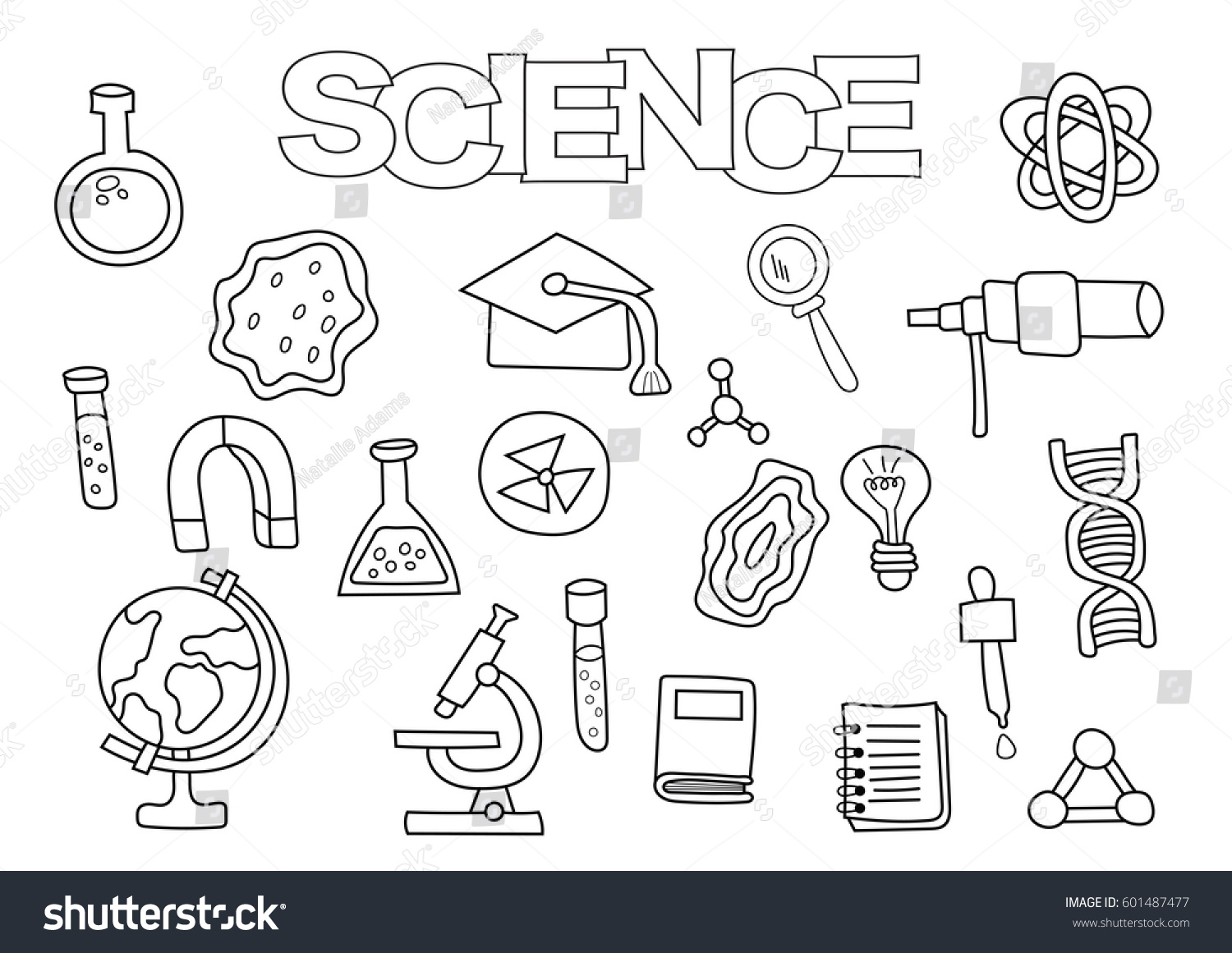 science elements hand drawn set coloring book template outline doodle elements vector illustration - Science Coloring Book