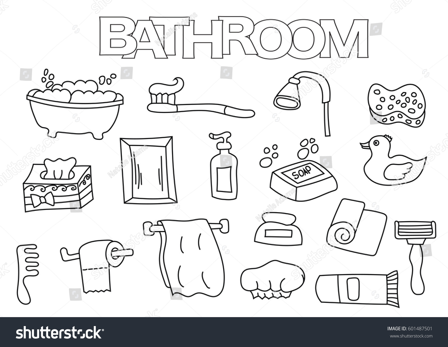 bathroom elements hand drawn set coloring stock vector 601487501