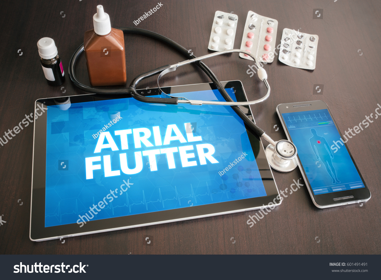 Atrial Flutter Heart Disorder Diagnosis Medical Stock Photo