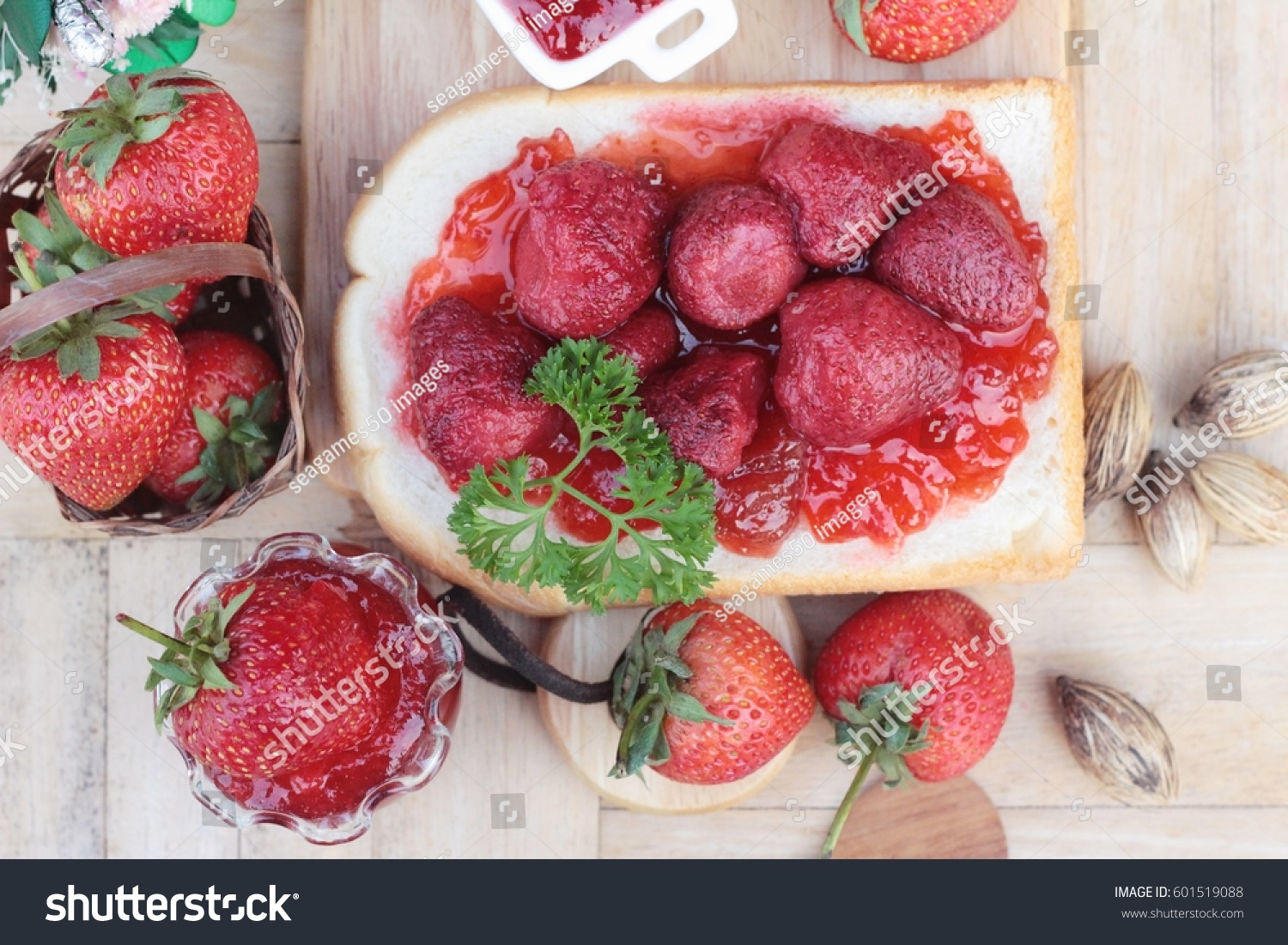 Strawberry jam with slice of bread delicious #601519088
