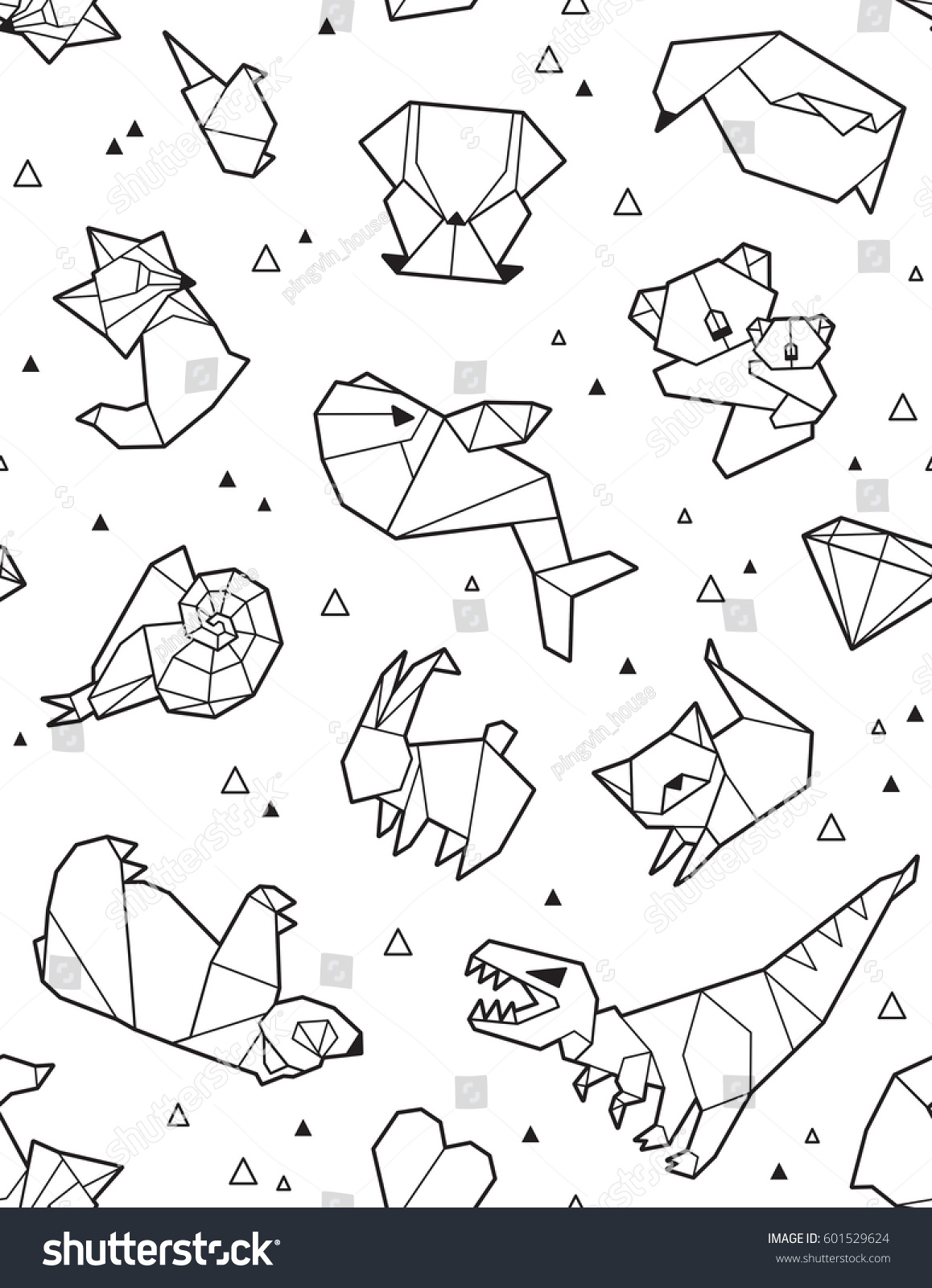 Seamless Origami Pattern Ink Animals Triangles Stock ... - photo#8