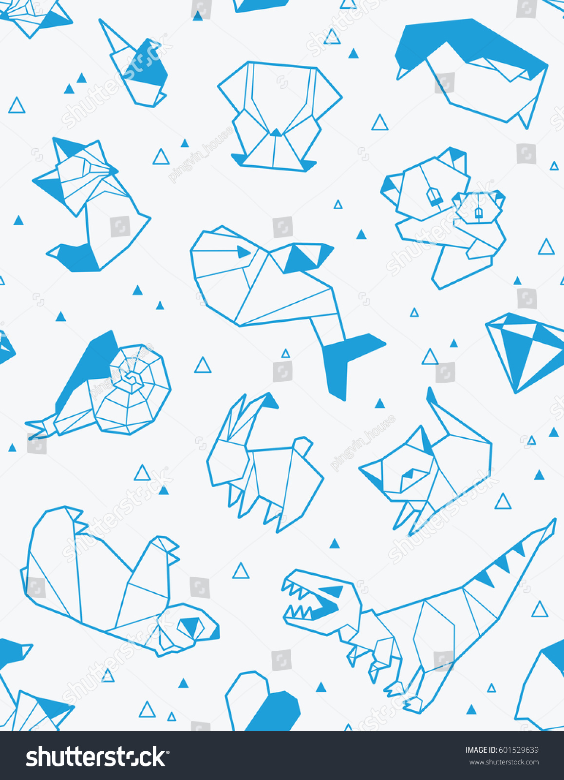 Seamless Origami Pattern Animals Triangles Paper Stock ... - photo#12