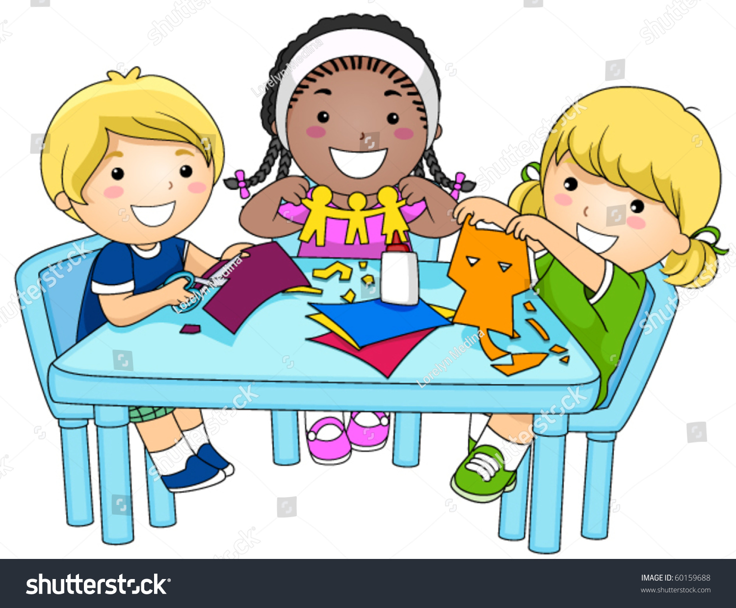 Schulklasse im unterricht clipart  Small Group Kids Making Paper Cutouts Stock-vektorgrafik 60159688 ...
