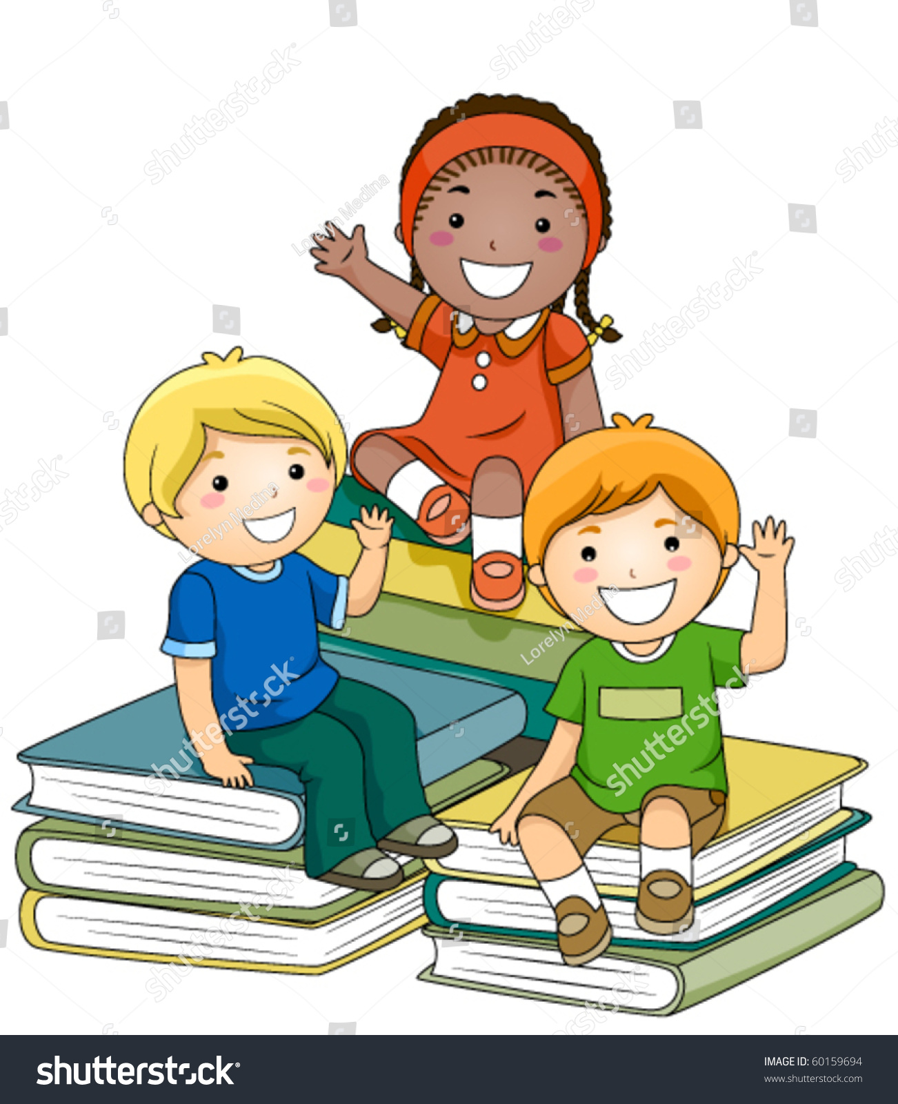 small group kids sitting on piles stock vector (royalty free