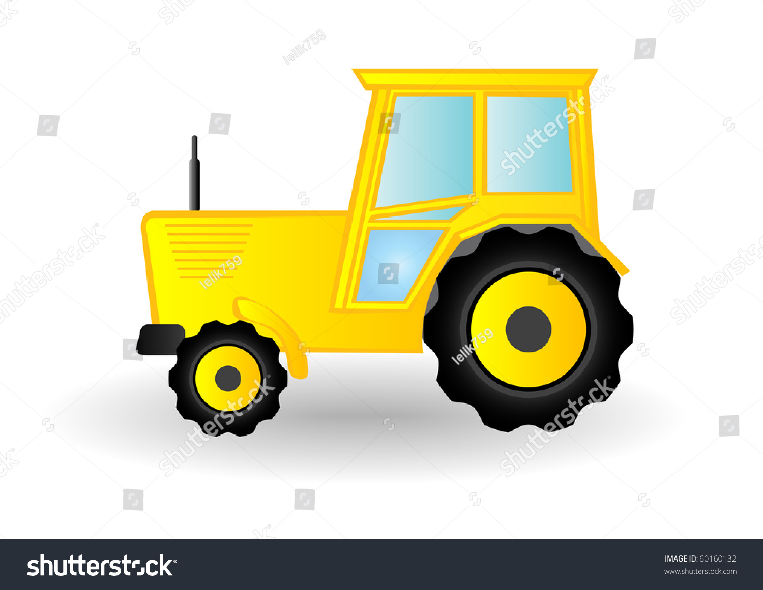 Yellow Tractor Clip Art : Vector illustration yellow tractor on wheels stock