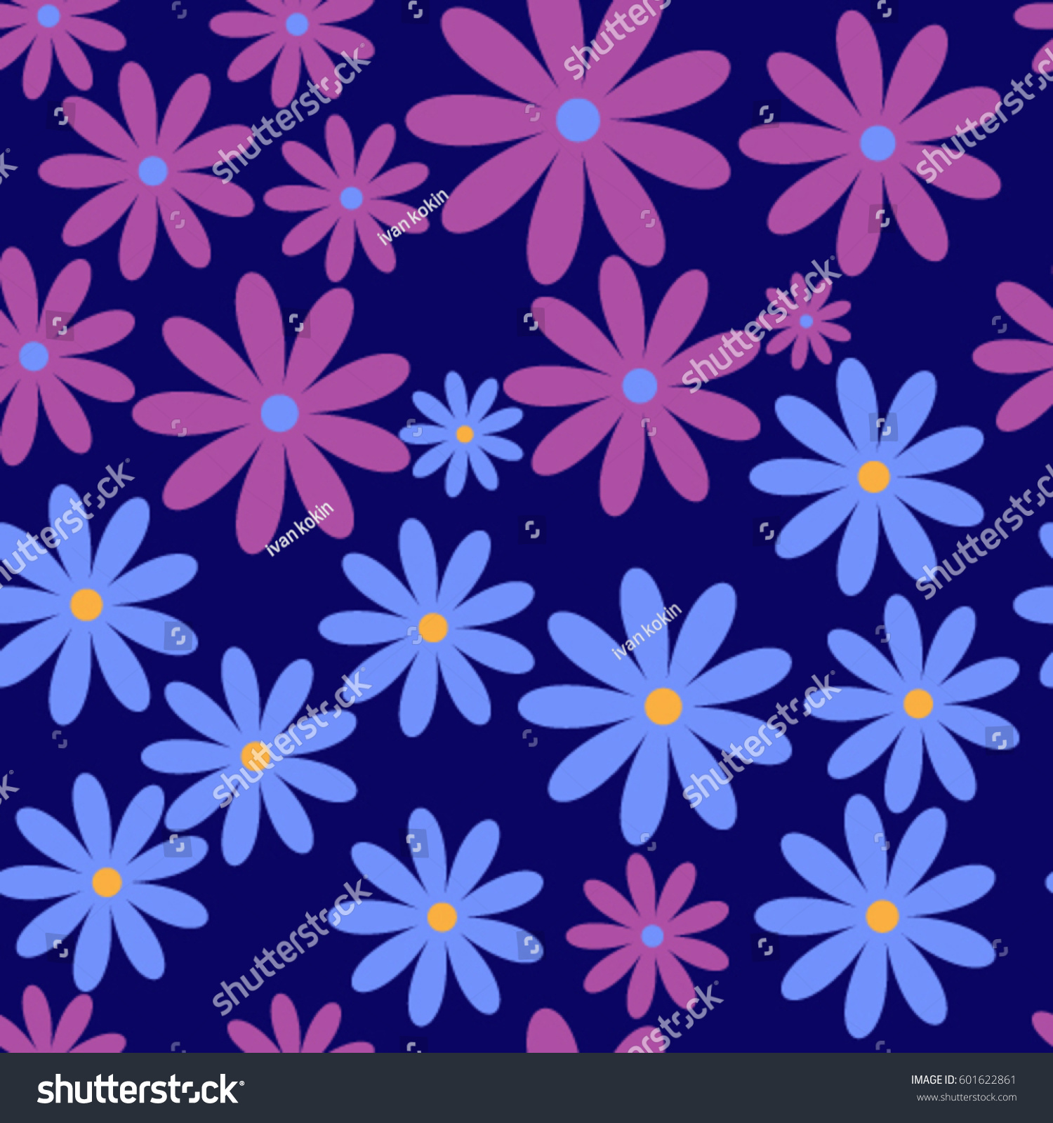Seamless pattern blue purple flowers flat stock vector 601622861 seamless pattern blue and purple flowers in a flat style on a blue background vector izmirmasajfo
