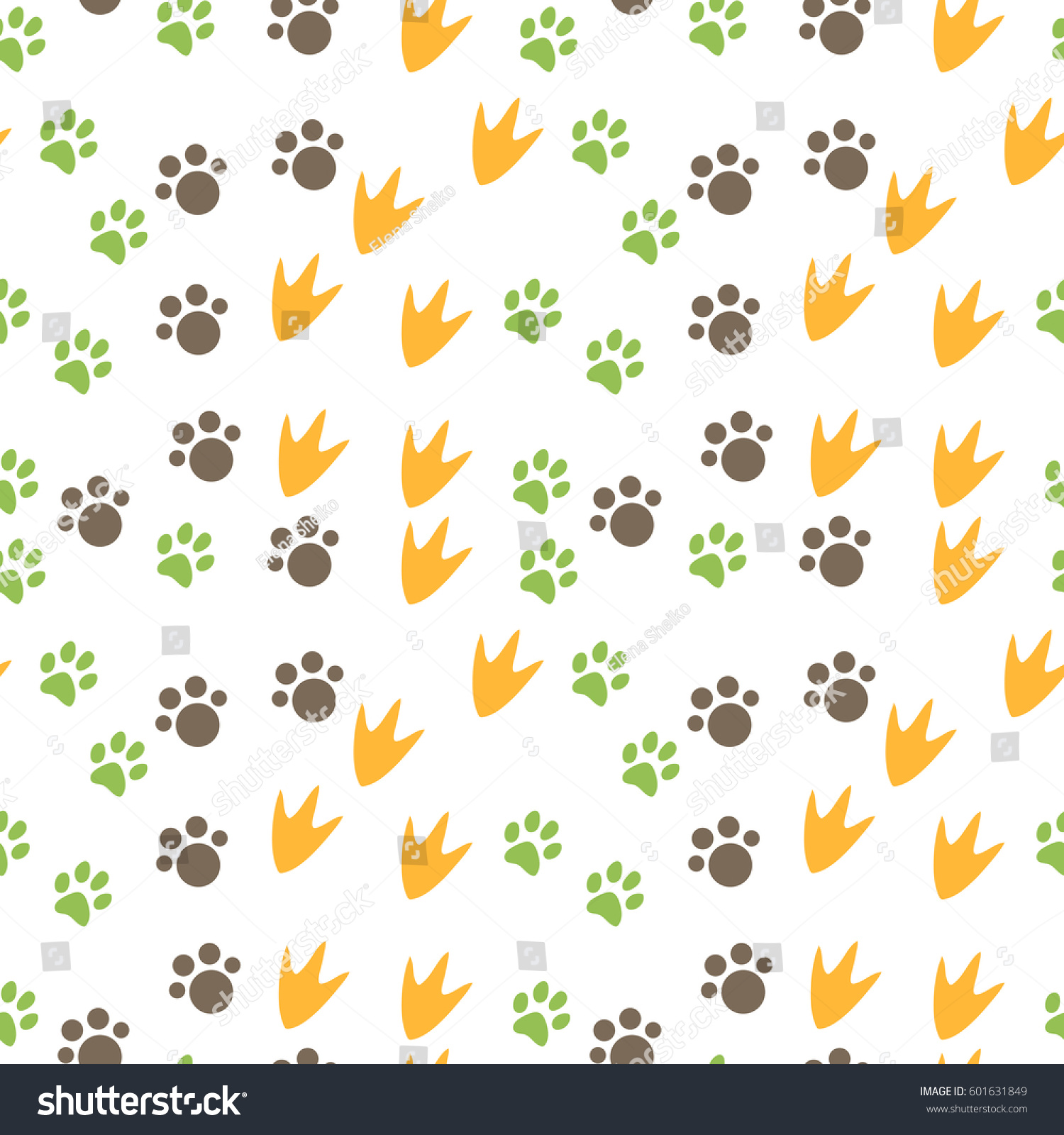 Vector Seamless Pattern With Animal Footprints Can Be Used For Wallpaper Web Page Background