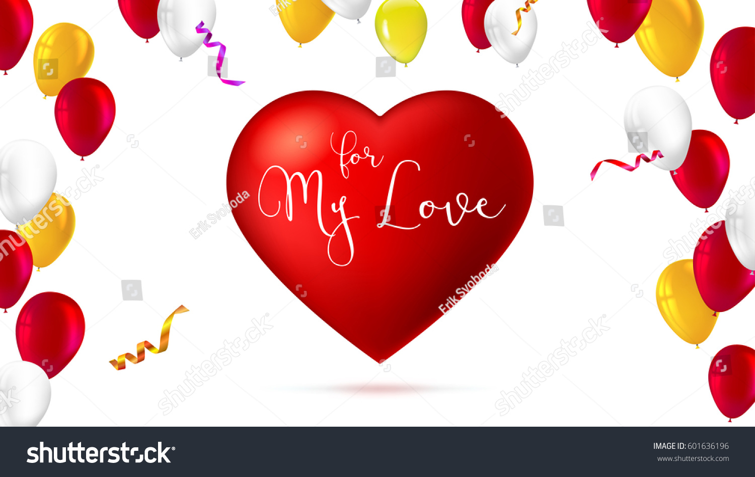 Romantic Greeting Card Big Red Heart Stock Vector 601636196