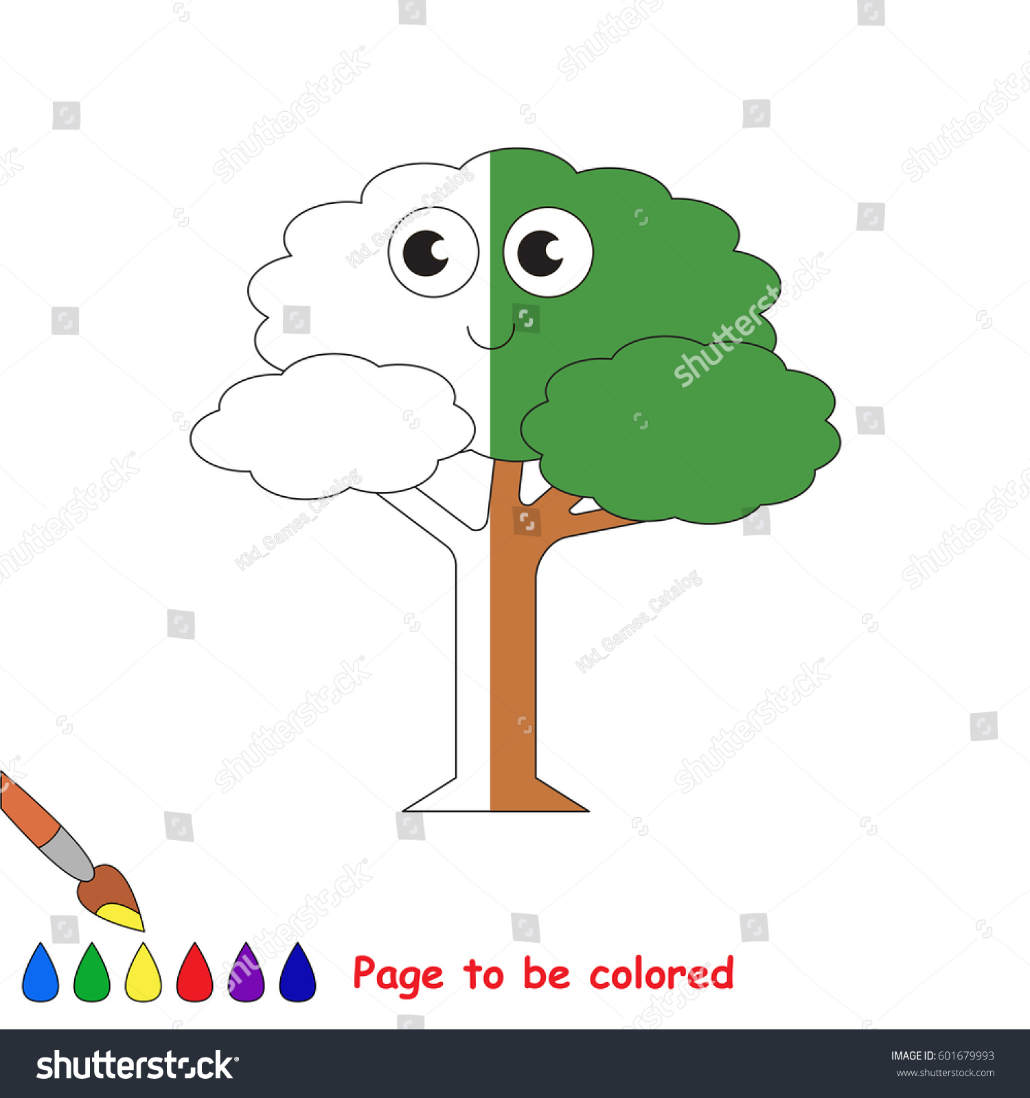 Leaf Tree Coloring Book Educate Preschool Stock Vector (Royalty Free ...
