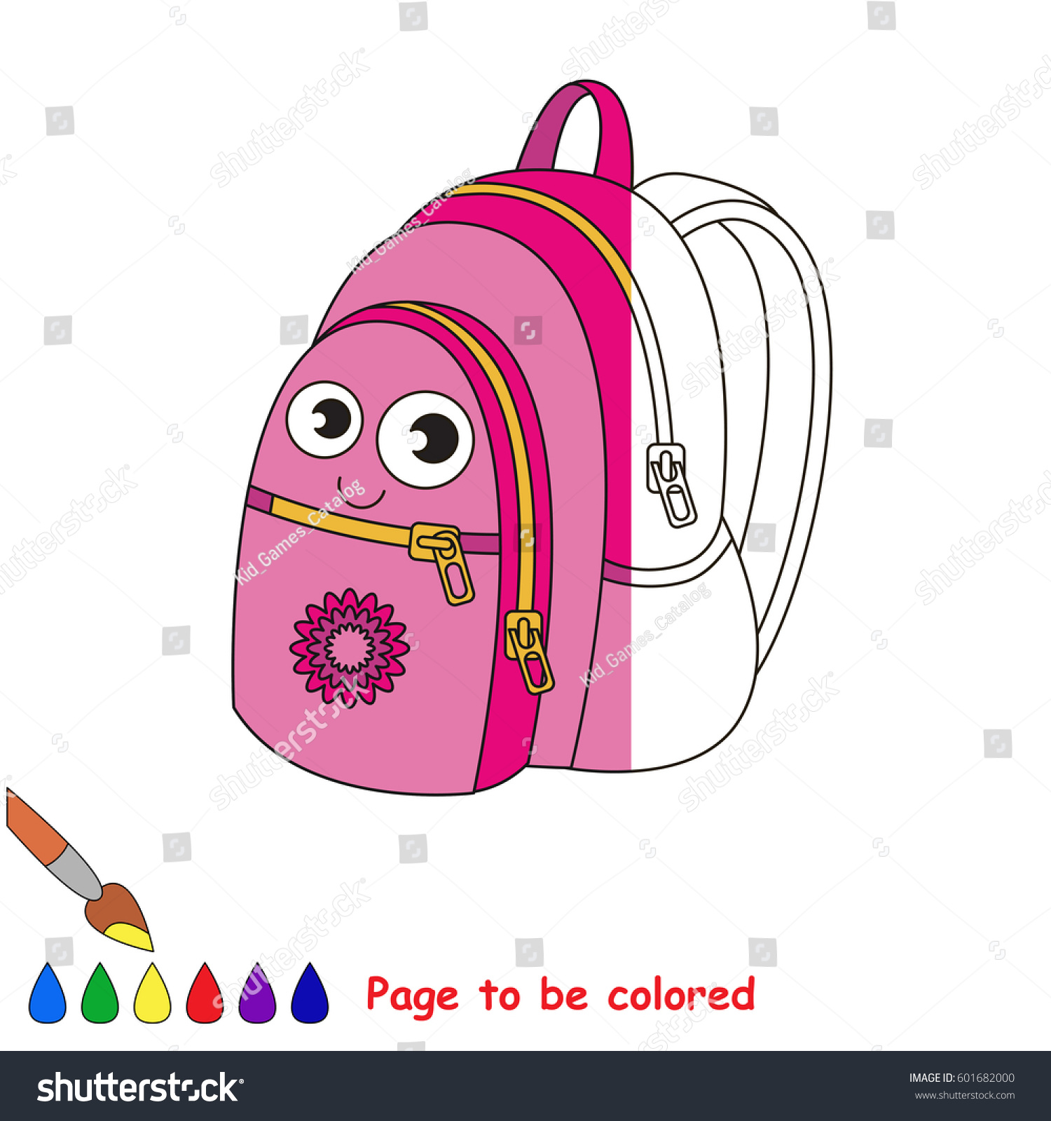 Cute School Bag Coloring Book Educate Stock Vector (Royalty Free ...