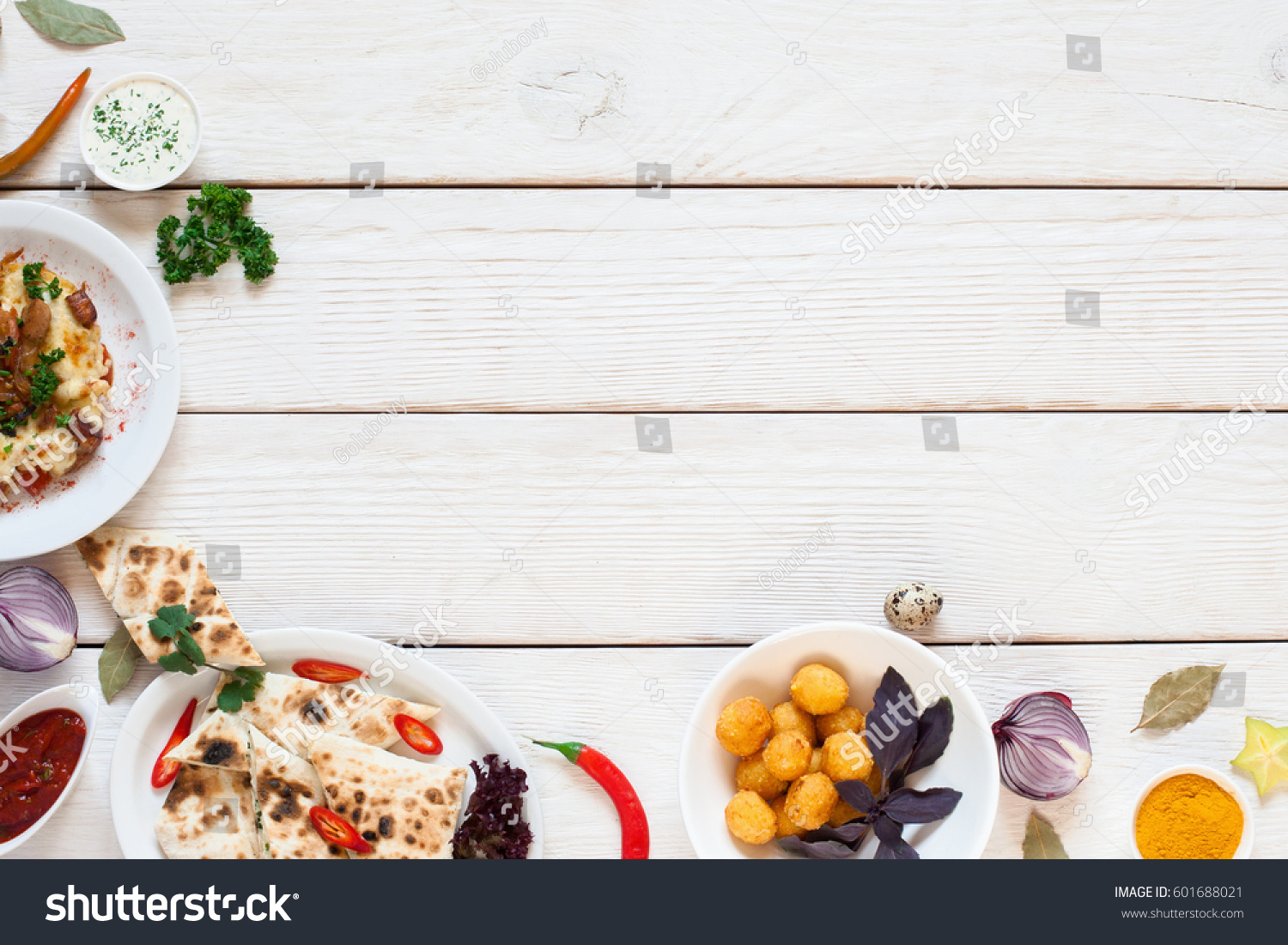 White Wooden Table With Breakfast Border Flat Lay Top View On Frame Of Delicious Snacks