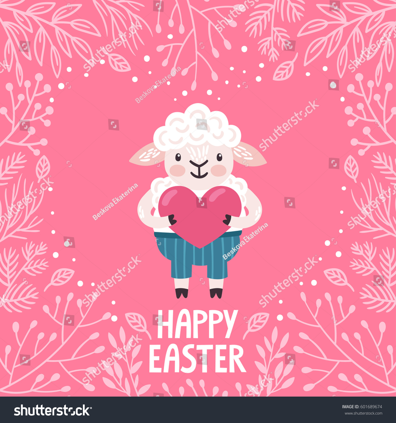 Vector Holiday Background Cute Sheep Heart Stock Vector (Royalty ...