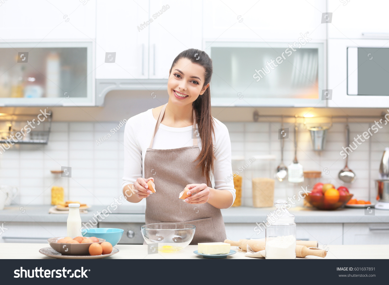 Beautiful Young Woman Cooking Kitchen Stock Photo & Image (Royalty ...