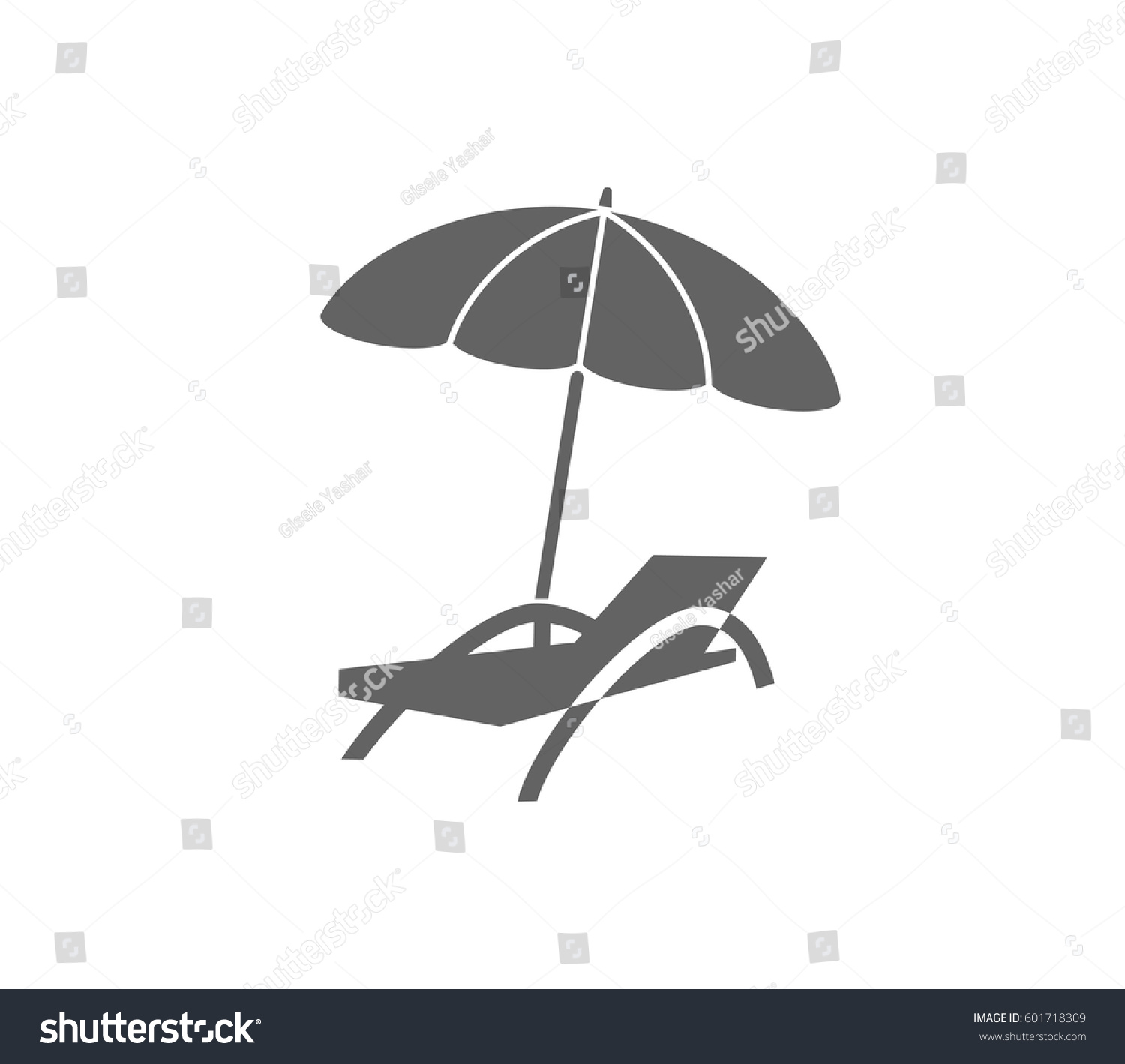 Beach Chair Umbrella Icon Relax Icon Stock Vector