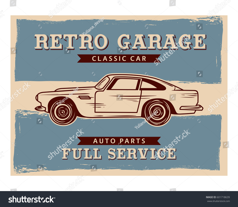 Old School Classic Vintage Retro Car Stock Vector 601718639 ...
