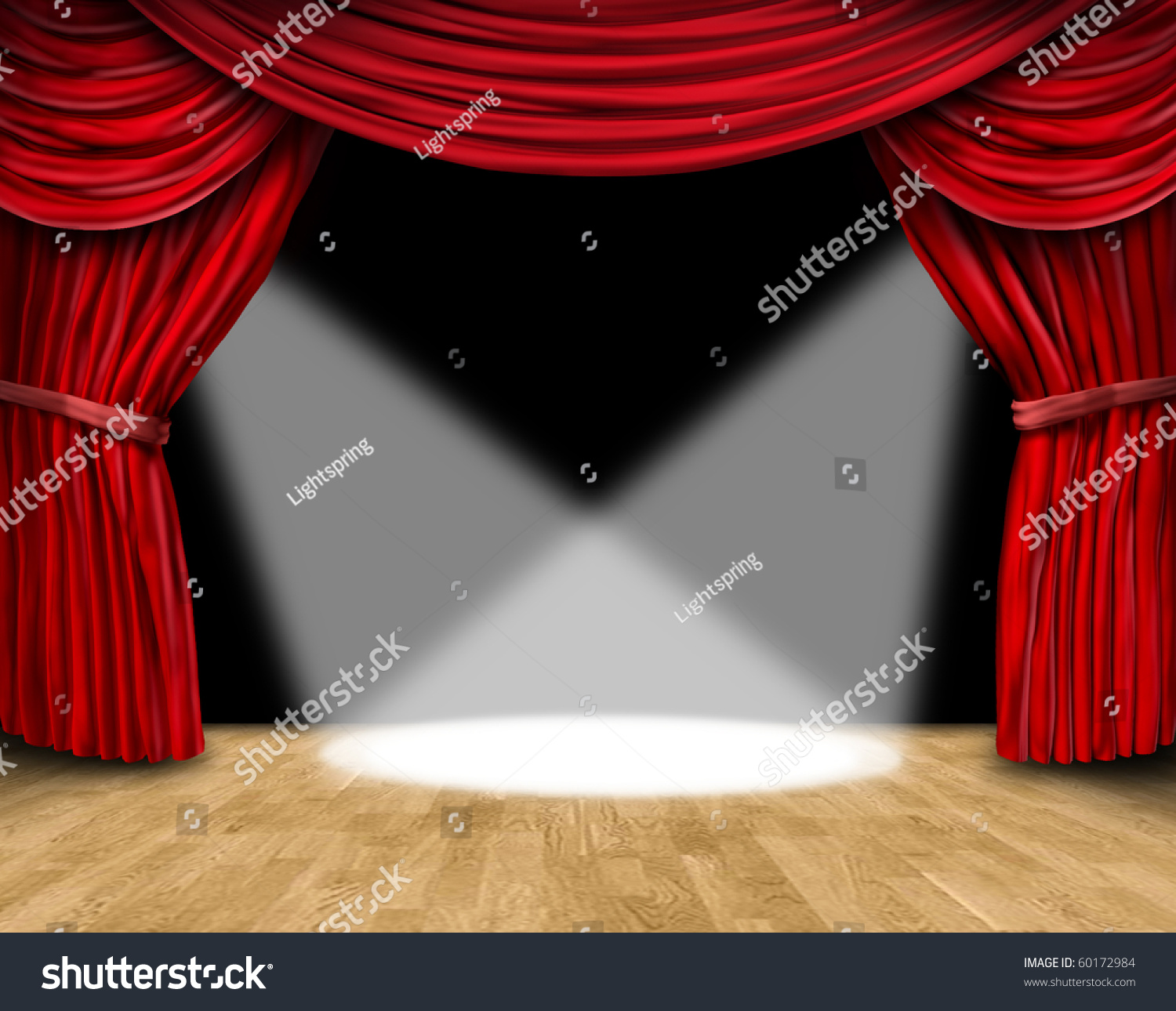 Red stage curtain with lights - Save To A Lightbox