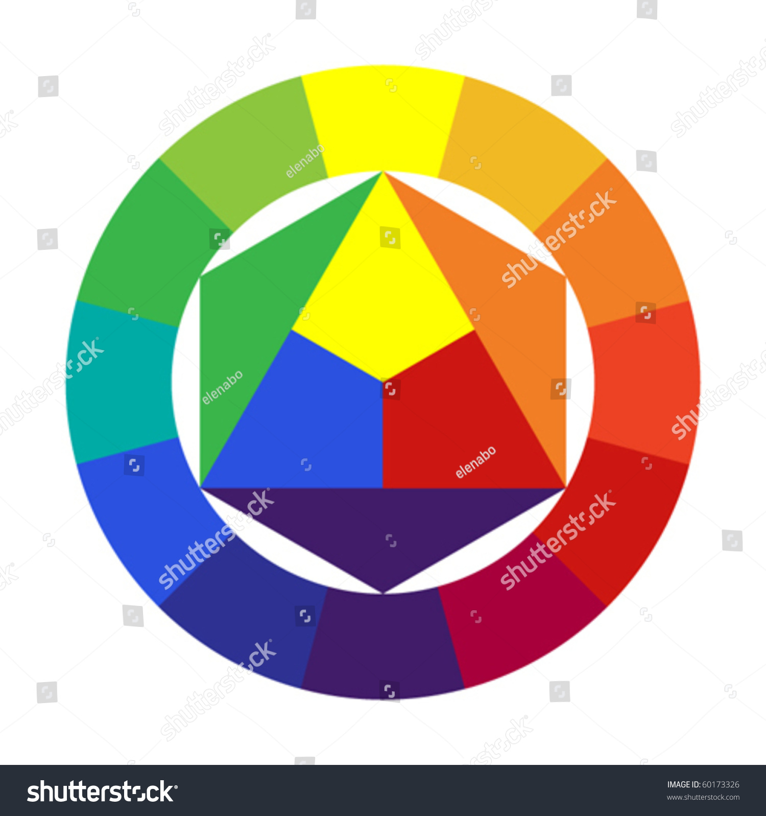 12 Color Wheel Stock Vector 60173326