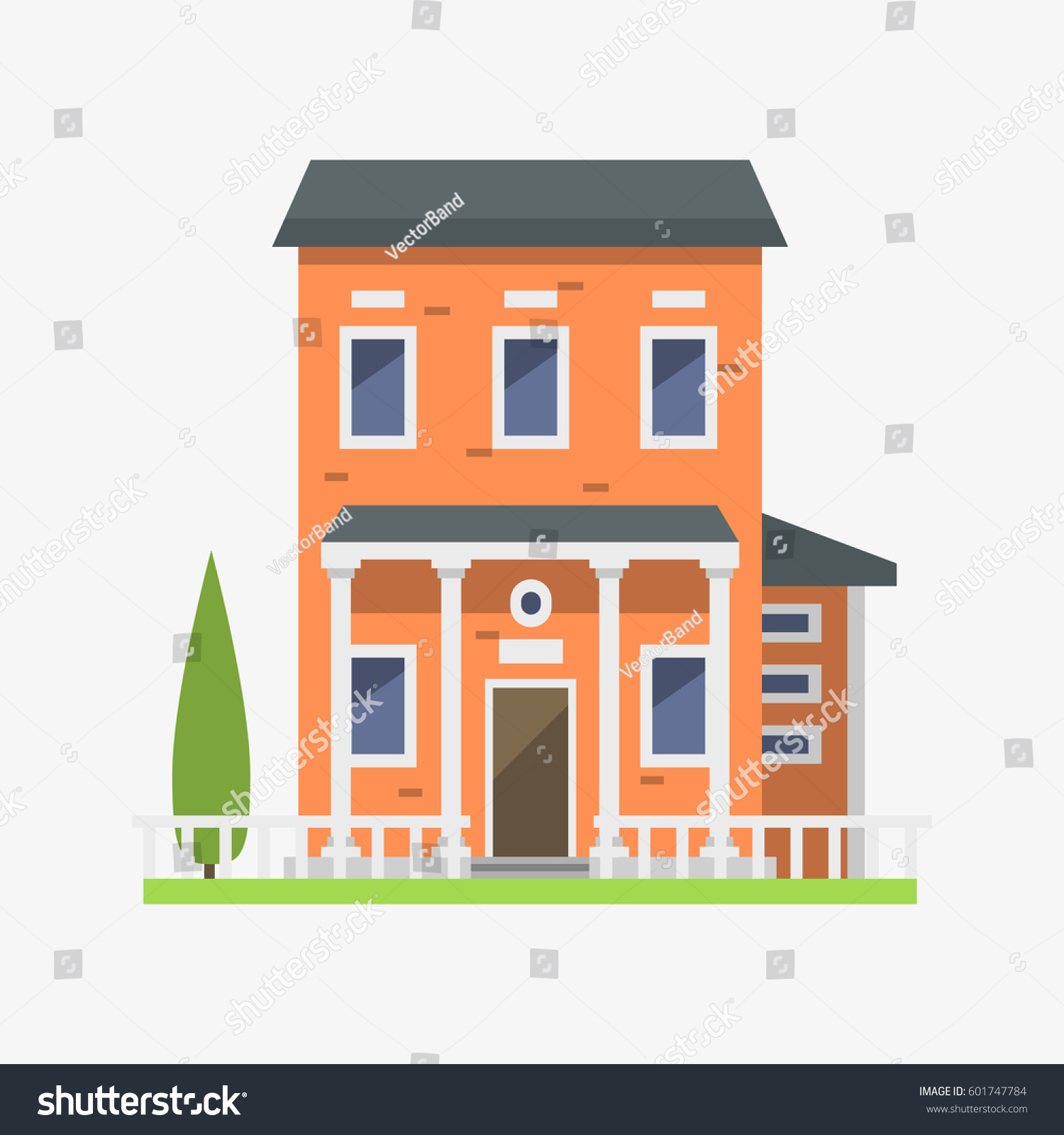 Cute Colorful Flat Style House Village Stock Vector 601747784 ...