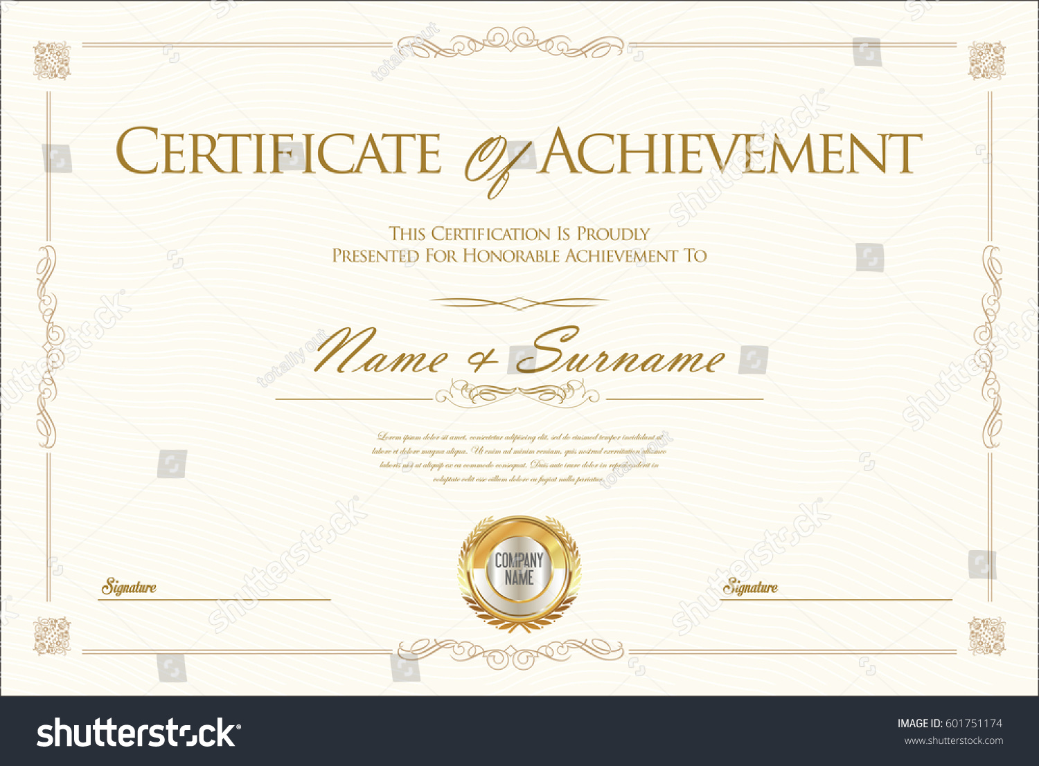 certificate achievement diploma template stock vector 601751174 shutterstock. Black Bedroom Furniture Sets. Home Design Ideas