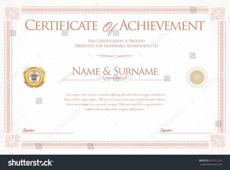 Certificate achievement diploma template stock vector 601751210 certificate of achievement or diploma template xflitez Choice Image