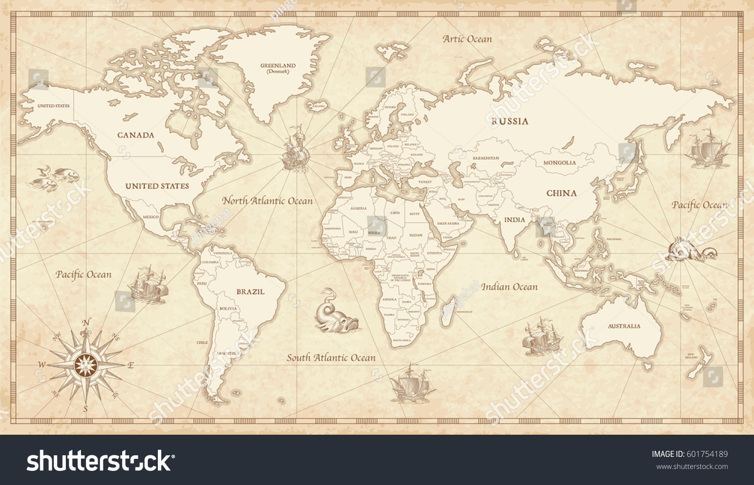 Great detail illustration world map vintage stock vector 601754189 great detail illustration of the world map in vintage style with all countries boundaries and names gumiabroncs Images